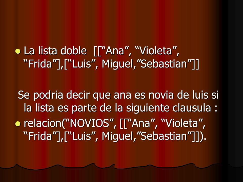 La lista doble [[ Ana , Violeta , Frida ],[ Luis , Miguel, Sebastian ]]